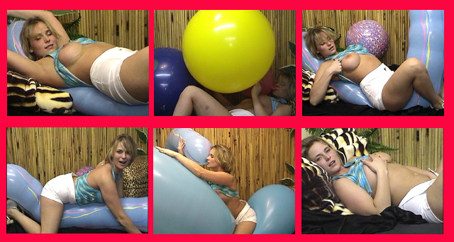 Video clip of Maya riding big balloons
